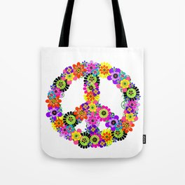 Peace Sign of Flowers Tote Bag