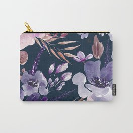 Watercolor Giant Flowers Blue Carry-All Pouch