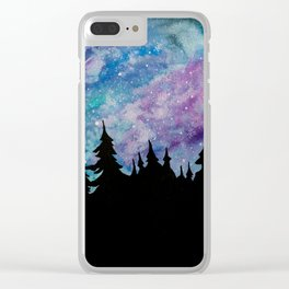 Galaxies and Trees Clear iPhone Case