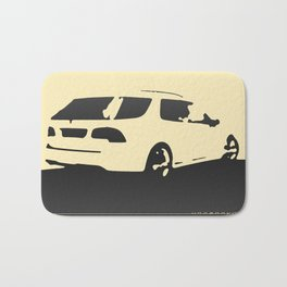 Saab 9-5 Aero, rear view, charcoal on cream Bath Mat