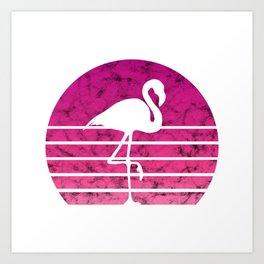 Flamingo Flamingos Walk Pink Colorful Retro Gift Art Print