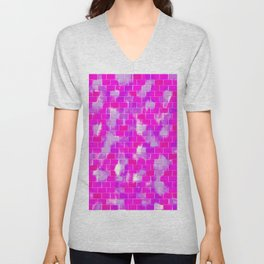 BRICK WALL SMUDGED (Purples, Violets & Fuchsias) Unisex V-Neck