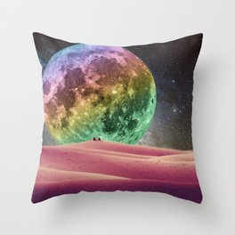 Rainbow Moonset Throw Pillow