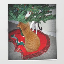 12 cats a-climbing Throw Blanket