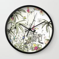 jungle Wall Clocks featuring Jungle by Annet Weelink Design