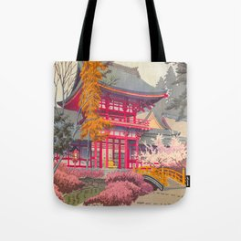 Japanese Woodblock Print Vintage Bright East Asian Red Pagoda Spring Garden Tote Bag