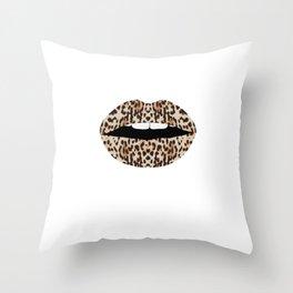 Cheetah Pattern Lips Leopards Fur Kiss Mouth Animal Print Throw Pillow