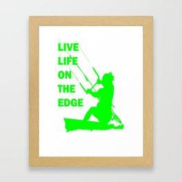 Live Life On The Edge Neon Lime Kitebeach Framed Art Print