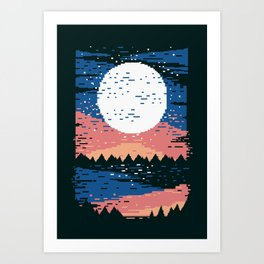 Starry Pixel Night Art Print