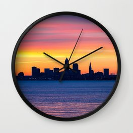city buildings silhouettes water sunset dark Wall Clock