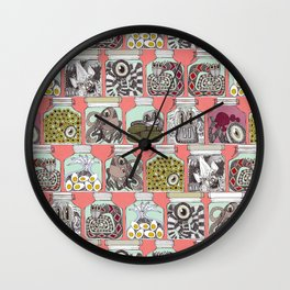 weird pickles coral Wall Clock