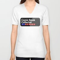 comic book V-neck T-shirts featuring Comic Book Collector by AWOwens