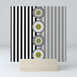 Flowers and Stripes - Gray Green Mini Art Print