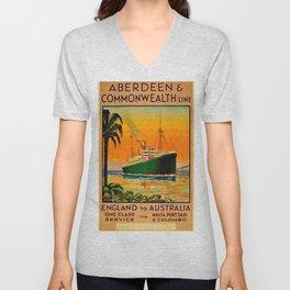 Vintage Aberdeen & Commonwealth Line Travel Poster England to Australia Unisex V-Neck