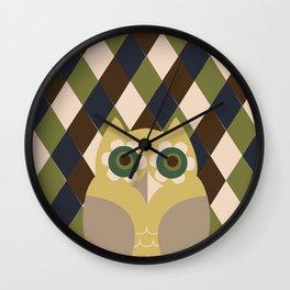 Owls and Argyle  Wall Clock