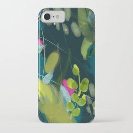 abstract jungle fever leaves in floral green iPhone Case