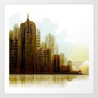 cityscape Art Prints featuring Cityscape by Robin Curtiss