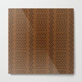 Dark mudcloth fabric print Metal Print