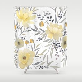 Modern, Floral Prints, Yellow, Gray and White Shower Curtain