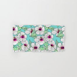 Pink & White Tropical Hibiscus Floral Pattern Hand & Bath Towel