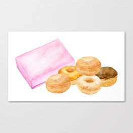 Watercolor donuts and gift box Canvas Print