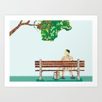 forrest gump Art Prints featuring Forrest Gump  by PIXERS