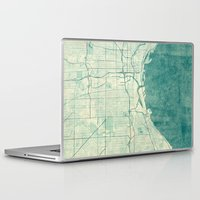 milwaukee Laptop & iPad Skins featuring Milwaukee Map Blue Vintage by City Art Posters