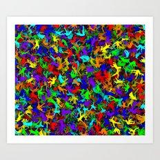 Rainbow people falling Art Print