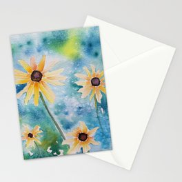 """""""Summertime"""" Loose yellow coneflowers watercolor paintng Stationery Cards"""