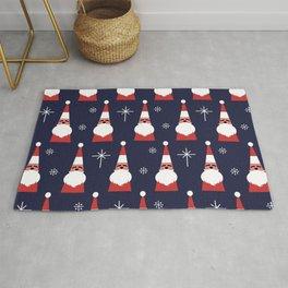 Retro Santa Christmas Red Pattern Rug