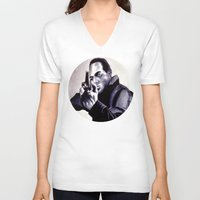 washington V-neck T-shirts featuring Peter Washington by Zombie Rust