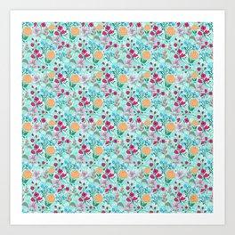 Cute Pink & Blue Small Floral Mint Design Art Print