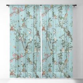 Monkey World Aqua Sheer Curtain