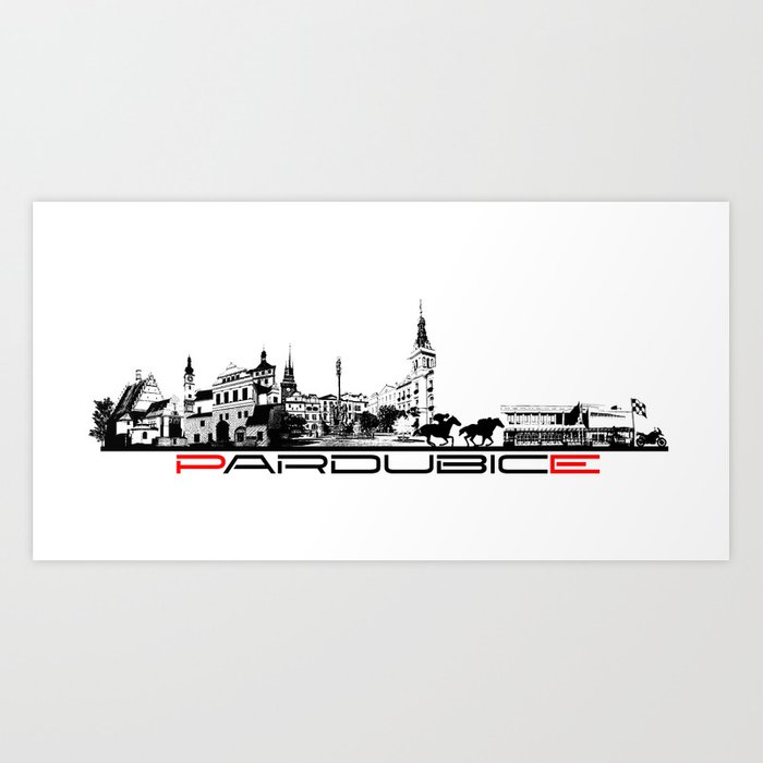 Pardubice skyline city black Art Print