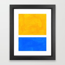 Primary Yellow Cerulean Blue Mid Century Modern Abstract Minimalist Rothko Color Field Squares Framed Art Print