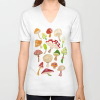 mushrooms V-neck T-shirts featuring Mushrooms by Cat Coquillette
