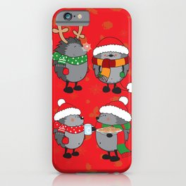 Christmas hedgehogs iPhone Case