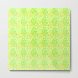 Lime and Lemon Slices Pattern Metal Print