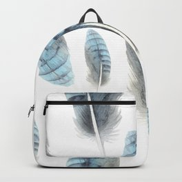 Blue Feather Seamless Pattern Backpack