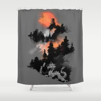 dragon ball z Shower Curtains featuring A samurai's life by Picomodi