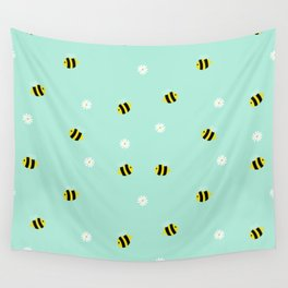 Bees and daisies Wall Tapestry