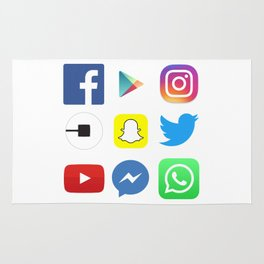 For App Lovers; Top Apps; Facebook, Instagram, Youtube, Whatsapp, Snapchat, Twitter, Social Media Rug