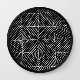 Black Diagonals Pattern Wall Clock