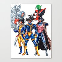 xmen Canvas Prints featuring Z fighters crossover xmen by Unic art