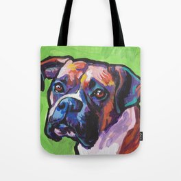 Fun BOXER Dog bright colorful Pop Art Painting by Lea Tote Bag