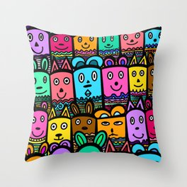 colorful doodles Throw Pillow