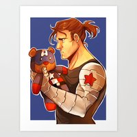 bucky barnes Art Prints featuring Bucky by zombietonbo