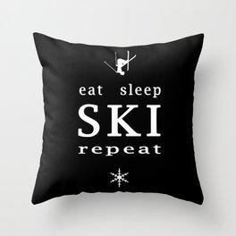 eat sleep ski repeat black Throw Pillow