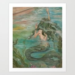 could we be friends? Bffs bestfriends undrewater mermaid reaching for boat on the ocean at sunset Art Print