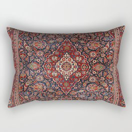 Persia Kurk Kashan Old Century Authentic Colorful Surreal Red Collage Vintage Rug Pattern Rectangular Pillow